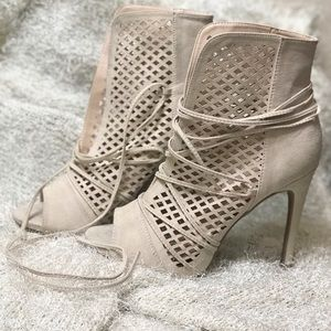 Beige Lace Up  Faux Suede Caged Heels